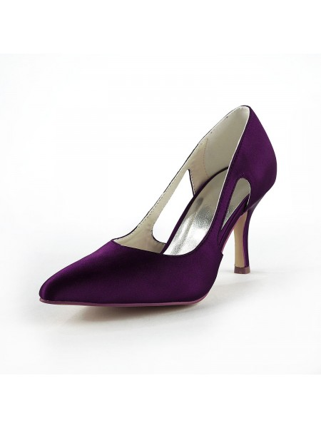 Kvinders Satin Stiletto Heel Lukket tå Pumps Grape Bryllupssko